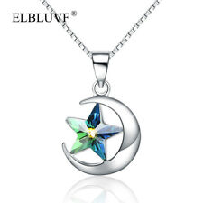 ELBLUVF 925 Sterling Silver Austria Crystal Star and Moon Crescent Necklace Gift