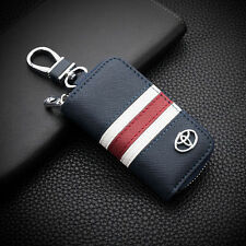 Blue High-grade leather Car Remote Key Chain Holder Case Bag Fit For Toyota Auto