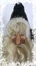 Primitive Folk Art Americana Santa with Flag Hand Made Fabric Belsnickle St Nick