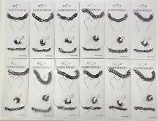12 Sets of  Black Tattoo Choker Necklace Bracelet Ring Set Elastic Stretchy