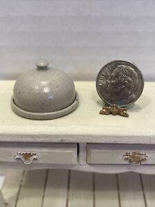 French Artist ELISABETH CAUSERET Stoneware Cheese Dome Dollhouse Miniature 1:12