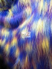 "FAUX FAKE FUR 3 TONE RAINBOW LONG PILE FABRIC - Purple/Royal/Yellow - 60"" WIDE"