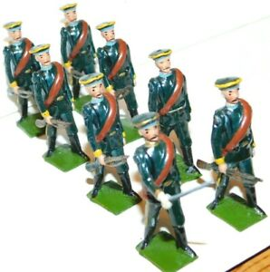 Pre-War BRITAINS 1930s Lead, Tsarist Russian Infantry Marching, 8 Piece Set #133