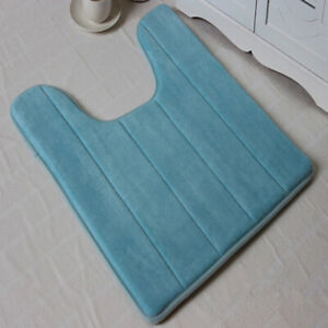 U-Shaped Memory Foam Bath Mats Toilet Mat Bathroom Coral Fleece Carpet Home D`sf