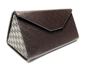 Gucci Medium Brown Folding Triangle Hard Side Eyeglasses Protective Case