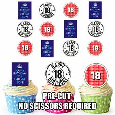 PRECUT 18th Son's Birthday Edible Cupcake Toppers Cake Decorations Pack of 12
