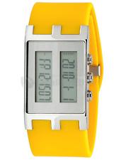 EOS Unisex Binary Nu Digital LCD Watch in Yellow and Silver W120SYELSIL NIB