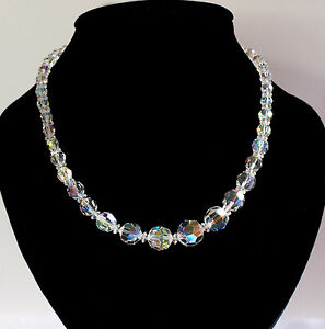 Sparkling, Vintage, Single Strand, Aurora Borealis Necklace