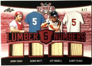 2021 Leaf Lumber #LN-04 Bench Brett Bagwell Pujols Quad Bat Relic Patch 4/7