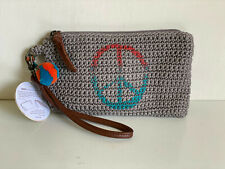 NEW! THE SAK SANIBEL CROCHET CLOUD PEACE TECH PHONE CHARGING WALLET WRISTLET $59