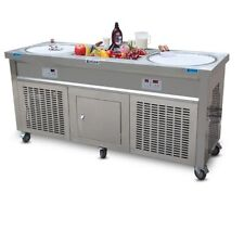"""20"""" Double round pans+10 precooling tanks fried ice cream roll machine"""
