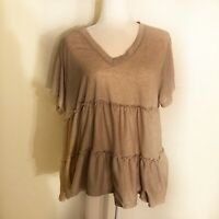 Altar'd State Size L Short Sleeve V-Neck Gray Ruffle Top