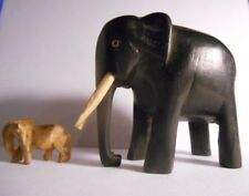 vintage 2 Hand Carved Wood Wooden Elephant Figurines~white Tusk & a super mini