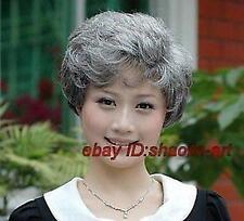 Haute qualité ! Femmes gris blanc court perruque saine Halloween