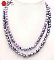 """Long 40"""" Natural Black 8-9mm Baroque Freshwater Pearl Necklace for Women nec6156"""