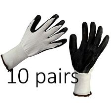 10 x BUILDERS / CONSTRUCTION / GARDENING WORK GLOVES LATEX RUBBER COATED Size XL
