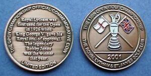 2001 OPEN BRONZE COMMEMORATIVE COIN GOLF BALL MARKER ROYAL LYTHAM ST ANNES CLUB