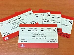 10 x Personalised Train Rail Ticket Wedding Save The Date Card RSVP Invitation