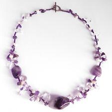 COLLIER pierres cristal de roche amethyste perles nacre micromacramé idée noël