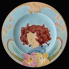 assiette barbotine art nouveau - majolica 1900 - 2