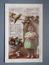 R&L Postcard: Birthday Greetings Embossed, Parrot, Toy Doll & Rabbit