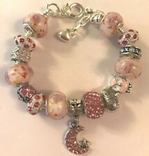 ❤️European CHARM BEADS BRACELET PINK Beads w/ Sterling Silver Plated Chain #2❤️