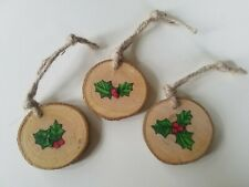 Handmade Traditional Wood Christmas Decorations Holly