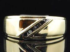 Mens 10K Yellow Gold Black Diamond Engagement Ring 5 Stone Wedding Band Channel
