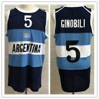 Luis Scola #4 Manu Ginobili #5 Argentina National Visa Basketball Jerseys Custom