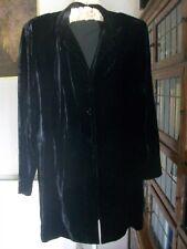 Silk Blend Black Velvet Collared 3/4 Coat/Jacket/Tunic, Size 18, M&S, BNWOT