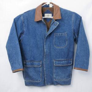 VTG Austin Read Mens Medium Heavy Barn Coat Denim Leather Jacket Chore Work
