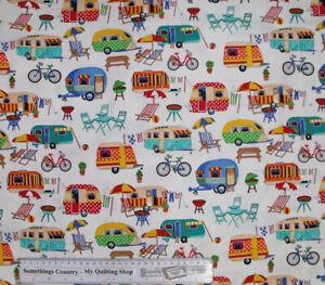 Quilting Patchwork Cotton Sewing Fabric Getaway Caravan 50x55cm FQ