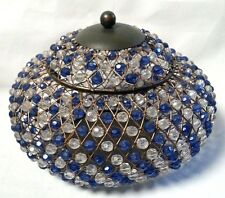 """Wire Basket Container with Lid Bohemian Blue Clear Faceted Beads 6""""H x 7""""W"""