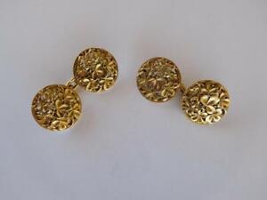 Spectacular French 20th Century Art Nouveau 10K Yellow Gold Shamrocks Cufflinks