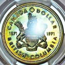 1971 BC Canadian Silver Dollar PCGS SP67 NEON Rainbow Tone Colors D