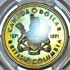1971 BC Canadian Silver Dollar PCGS SP67 NEON Rainbow Tone Colors D
