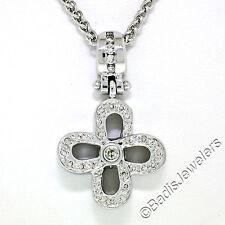 "Open Flower Pendant w/ 16"" Chain Unique 14K Solid White Gold 0.44ctw Diamond"