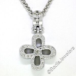 "Unique 14K Solid White Gold 0.44ctw Diamond Open Flower Pendant w/ 16"" Chain"