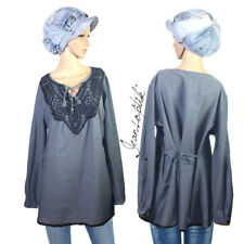 Jeansoptik Used Look Häkelspitze Longbluse Bluse Tunika Luftig Shirt NEU Gr.48