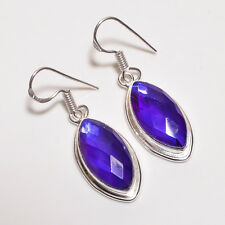 Faceted Natural blue mystic topaz earrings pair valentine gift