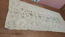 "ANTIQUE TABLE RUNNER LINEN ITALIAN RETICELLA NEEDLE LACE 42"" HAND EMBROIDERY"
