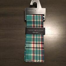 NWT $32.50 Tommy Hilfiger Donovan Blue Plaid 100% Cotton Pocket Square