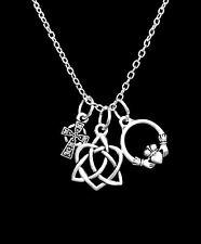 Irish Celtic Knot Cross Claddagh Loyalty Friendship Love Charm Necklace