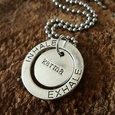 """Silver Karma Large Inhale Exhale Pendant Stainless Steel  Necklace 20"""""""