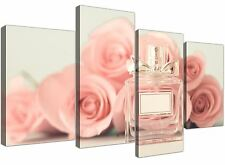Large Shabby Chic Pink Cream Rose Perfume Girls Bedroom Canvas 4 Part - 4285