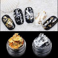 4 Caja oro plata papel aluminio brillante pegatina decoración arte uñas Manicura