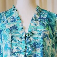 COLDWATER CREEK Ruffle Front Blouse size Medium Blue Green Watercolors