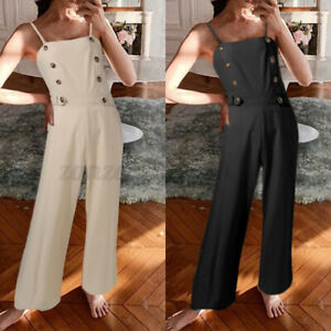 Women Sleeveless Buttons Jumpsuit Casual Work Party Wide Leg Long Pants Playsuit