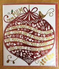 "'For My Mum' Clintons Christmas Card - 7.25""x6.25"" Xmas - RRP £2.50"