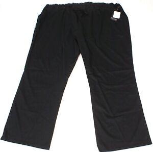 Cherokee Luxe Soft Easy Care Scrub Pants, elastic waist, Black, womens 5XL, NEW